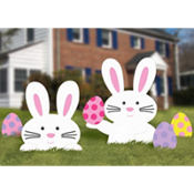 Easter Bunny and Eggs Lawn Sign 5ct