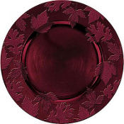 Burgundy Embossed Round Plastic Charger 14in
