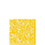 Sunshine Yellow Ornamental Scroll Beverage Napkins 16ct