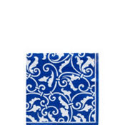 Royal Blue Ornamental Scroll Beverage Napkins 16ct