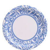 Pastel Blue Ornamental Scroll Lunch Plates 8ct