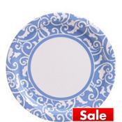 Pastel Blue Ornamental Scroll Lunch Plates 8ct