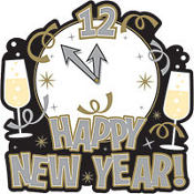 Clock Happy New Year Cutout 16in