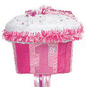Pull String 1st Birthday Cupcake Pinata 12in