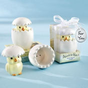 About to Hatch Ceramic Baby Chick Salt & Pepper Shaker Baby Shower Favor