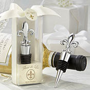 Fleur-de-Lis Elegant Chrome Bottle Stopper Wedding Favor