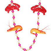 Shrimp and Crab Mardi Gras Bead Necklace 22in