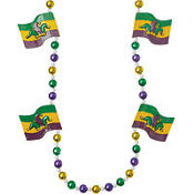 Jester Flag Mardi Gras Bead Necklace 24in