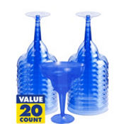 American Summer Blue Plastic Margarita Glasses 8oz 20ct