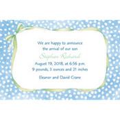 Blue Polka Dots with Bow Custom Birth Announcements