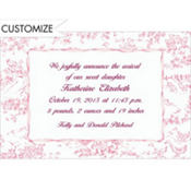 Pink Baby Toile Custom Birth Announcements