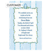 Blue Buds and Cross Custom Invitation