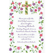Cross with Spring Flowers Custom Invitation