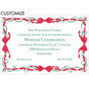 Red and Green Ribbon Border Custom Invitation