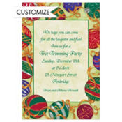 Ornaments Tied with Ribbon Custom Invitation
