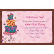 Girly Cake Custom Invitation