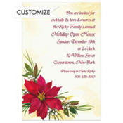 Poinsettia & Berries Custom Invitation