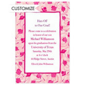 Pink Grad Caps & Swirls Custom Graduation Invitation