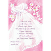 Christening Gown & Flowers Custom Invitation