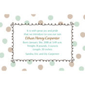 Green Dots Border Custom Birth Announcements