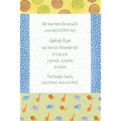Jungle Animal Patchwork Custom Birth Announcements