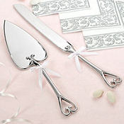 Silver Grace Wedding Cake Server Set