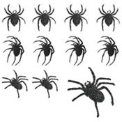 Glitter Black Spider Cutouts 9pc