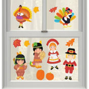 Vinyl Thanksgiving Window Decorations 13ct