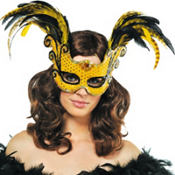 Swirl Glitter Feather Mask