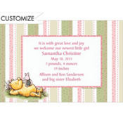 Pooh Pink and Green Stripe Custom Birth Announcements