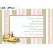 Pooh Pink and Green Stripe Custom Baby Shower Invitation
