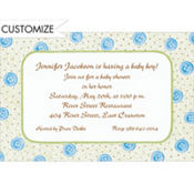 Blue Baby Buttons Custom Baby Shower Invitation