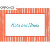 Apricot Raffia Stripe Custom Thank You Note