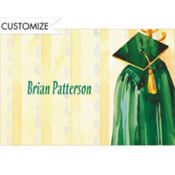 Green Graduation Gown Custom Thank You Notes