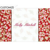 Asian Floral on Red Custom Thank You Note