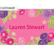 Pink Zinnias Custom Thank You Note