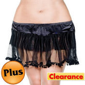 Adult Black PomPom Petticoat Plus Size