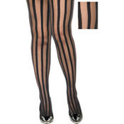 Adult Black Ribbon Stripe Pantyhose Plus Size
