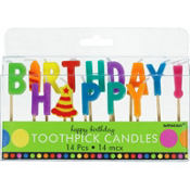Dots and Stripes Birthday Candle Picks 14pc