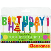 Dots & Stripes Happy Birthday Candle Picks