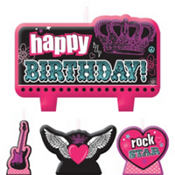 Rocker Girl Birthday Candles 4ct