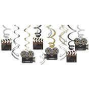 Hollywood Party Hanging Swirl Decorations 12ct