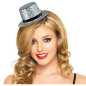 Silver Mini Hollywood Top Hat 2 1/8in