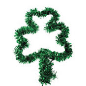 Shamrock Tinsel Wreath 16in