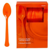 Orange Premium Plastic Spoons 100ct