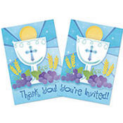 Blue First Communion Invitations & Thank You Notes Combo Pack 20ct