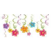 Hibiscus Swirl Decorations 12ct