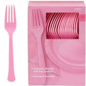 Pink Premium Plastic Forks 100ct