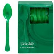 Festive Green Premium Plastic Spoons 100ct