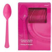 Bright Pink Premium Plastic Spoons 100ct